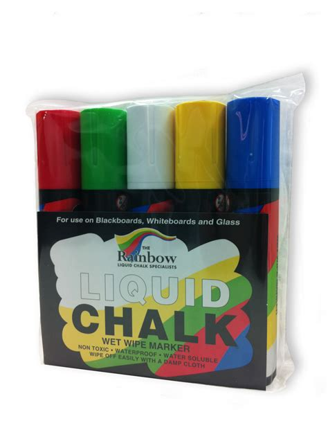 chalk paint quality 5 pack of primary colours 15mm wide nib liquid chalk