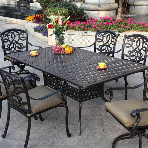 Patio Dining Furniture Sets Darlee Santa 7 Cast Aluminum Patio Dining Set With Rectangular Table Ultimate Patio
