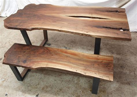 live edge bench black walnut live edge table bench witness tree studios in portland or