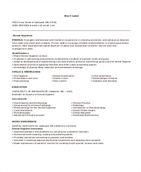 dental hygienist sle resume sle dental hygiene resumes 28 images sle dental resume