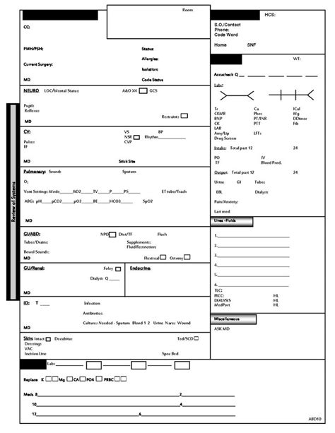 nursing handoff template icu report sheet template home