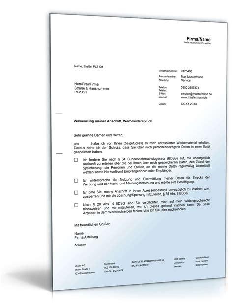 Musterbriefe Zur Abwehr Unberechtigter Forderungen Widerspruch Unerw 252 Nschte Werbesendungen Muster Zum
