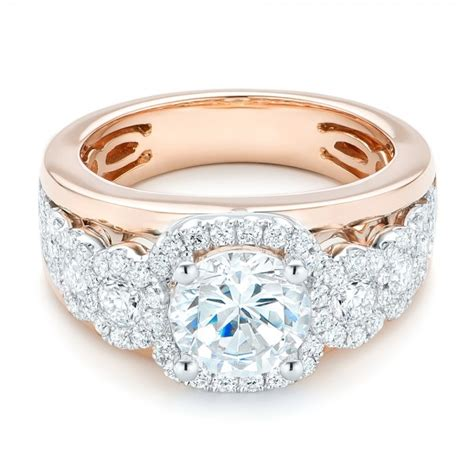 cluster diamonds and halo two tone engagement ring 102488
