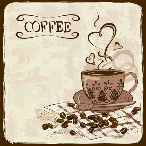 coffee poster wallpaper hand drawn coffee background vectors 01 vector
