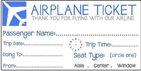pretend plane ticket template pretend airplane ticket search for my