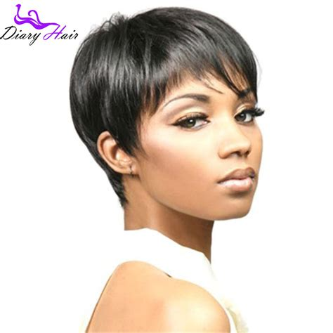 aliexpress human hair wigs peruvian no lace human hair short pixie human hair wigs