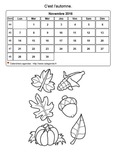 Calendrier 2016 à colorier du mois de novembre