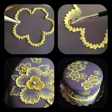 Cake Decorating Icing Brush Embroidery Cake Flowers And Template Ideas
