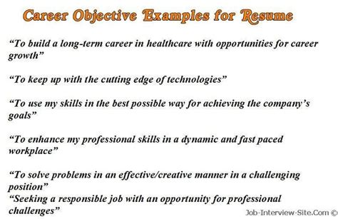 Sample Career Objectives ? Examples for Resumes