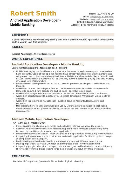 one year experience resume format for android developer android application developer resume sles qwikresume