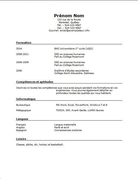 Modele Cv Simple Francais by Modele De Cv 233 Tudiant Simple Rediger Un Cv En Francais