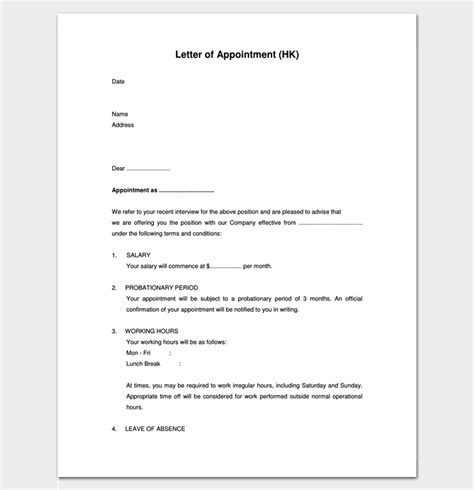 format of appointment letter for pdf appointment letter 22 sles in word doc pdf format