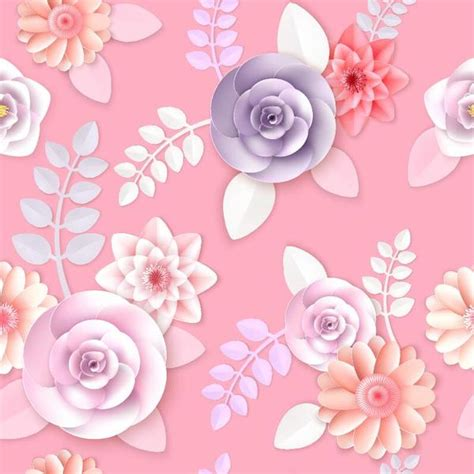 seamless pattern ai file paper flower seamless pattern and pink background vector