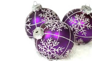 purple christmas ornaments photograph