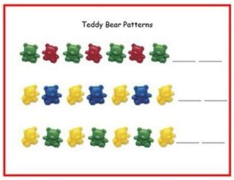 pattern mats for kindergarten teddy bear math mats by size counting measurement p