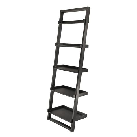 shop winsome wood bailey black 75 in 5 shelf ladder