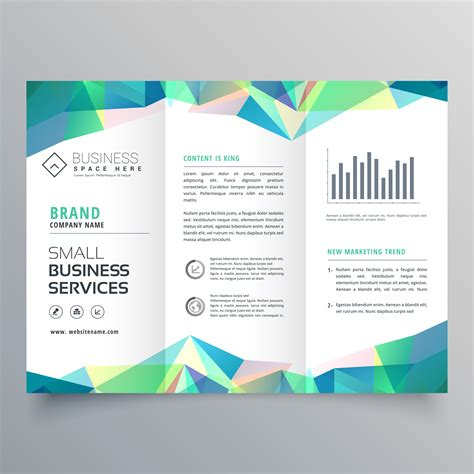 business trifold brochure design with abstract shapes