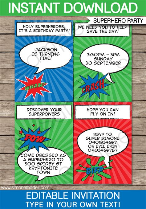 super hero party invitations template superhero birthday