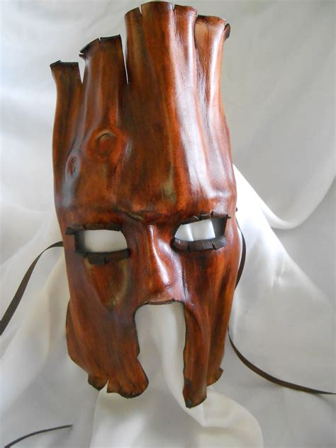 Handmade Leather Masks - handmade leather mask tree ent bark tones by kelleyemporium