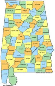 alabama counties map alabama mappery