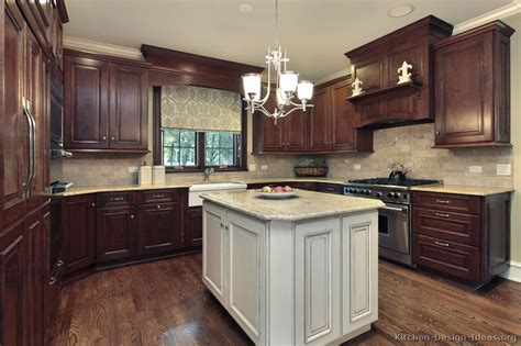 kitchen cabinet refacing ideas two tone color brown