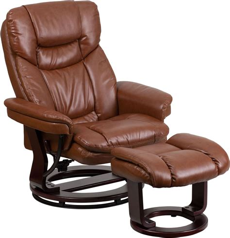 upholstered recliner brown upholstered vintage leather recliner and ottoman bt