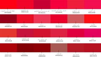shades of shades of computer reds and their hex codes just red blog series by raw designs