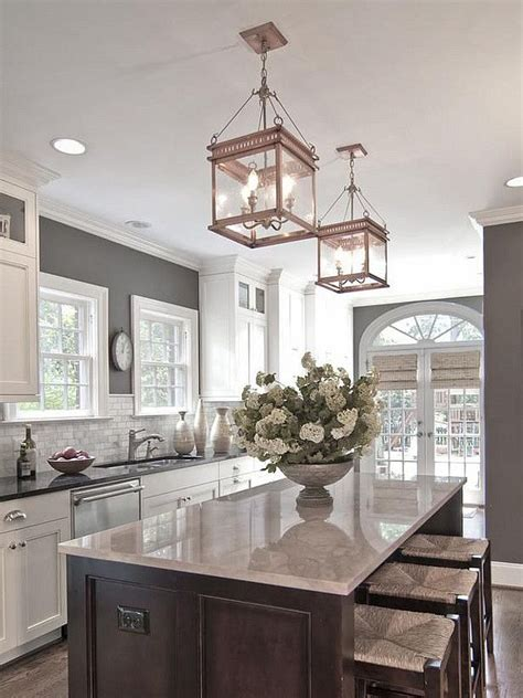 grey kitchen island and walls white marble paint above the cabinet is island color for the