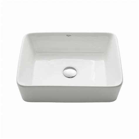 Kraus Bathroom Sinks by Kraus Rectangular Ceramic Vessel Bathroom Sink In White Kcv 121 The Home Depot
