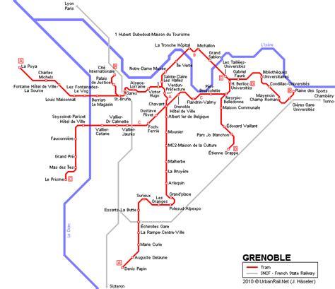 Carte des itinéraires de tram Grenoble Carte typographique du réseau des tramways de Grenoble