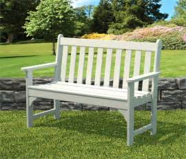 White Wooden Bench Outdoor Recycled Plastic Garden Bench