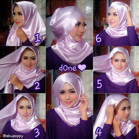 Jilbab Segi Empat Kain Satin Beautiful Wedding Tutorials Hijabiworld