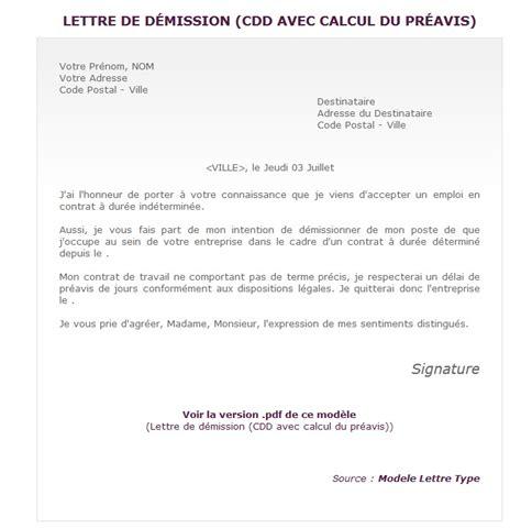 Exemple De Lettre De Démission Informelle Lettre De D 233 Mission D Un Cdd Pour Un Cdi Mod 232 Le De Lettre