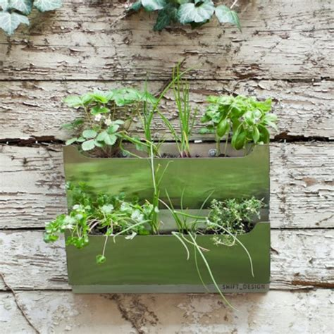 wall herb garden rectangle metal wall mounted cedar herb garden planter