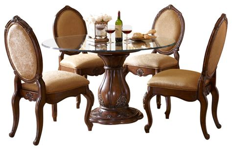 Lavelle Melange 5 Piece Round Glass Top Dining Table Set