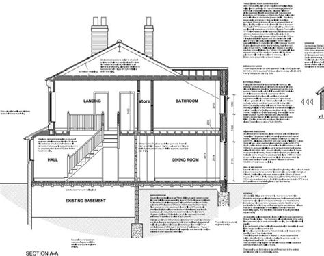 Brick Garage Construction Drawings - construction section drawing of a house with pitched roof