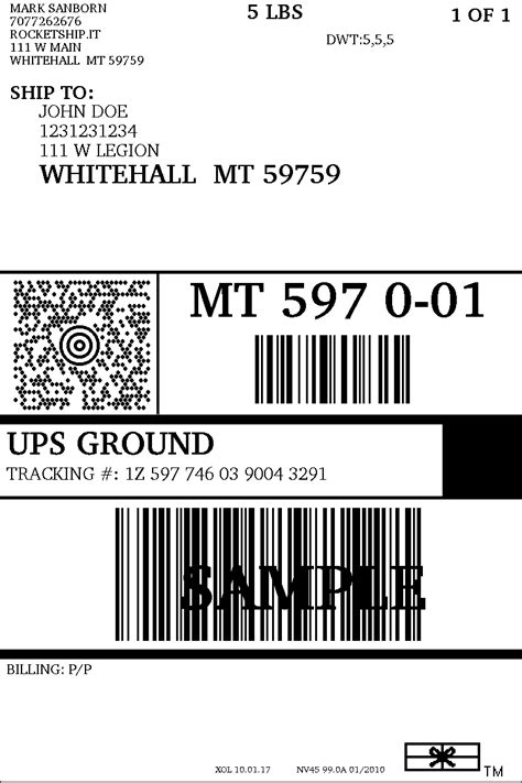 Ups Shipping Label Template Popular Sles Templates Ups Shipping Label Template