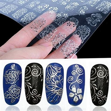 Nail Sticker Import 2 warm 108pcs 3d silver flower nail stickers decals