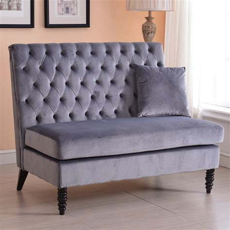 bench settee furniture velvet modern tufted settee bench bedroom sofa high back