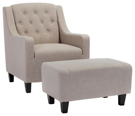 Empierre Linen Club Chair And Footstool Set Contemporary Armchairs And Accent