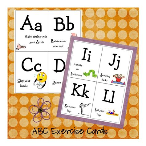 printable abc exercise cards 36 best images about large motor on pinterest backyard