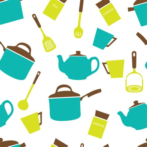 kitchen set picture to color image of color kitchen equipment on white background