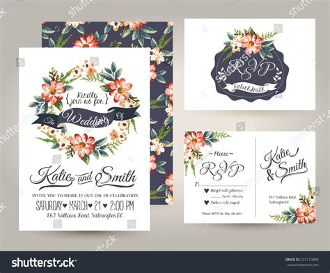 wedding invitation card suite with flower templates wedding invitation card suite flower vectores en