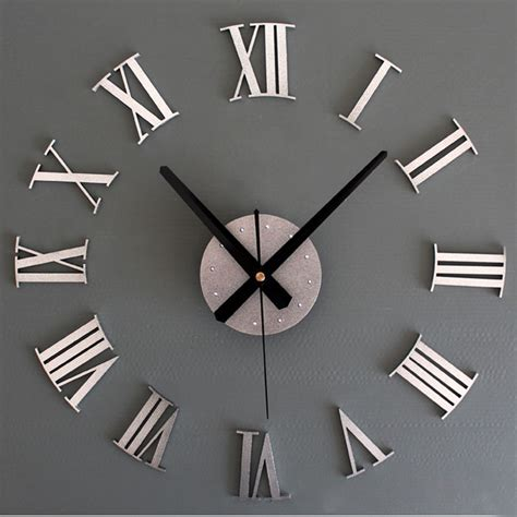 Jam Dinding Acrylic Mirror Big Number diy luxury 3d wall clock large size home decoration clock silver ebay