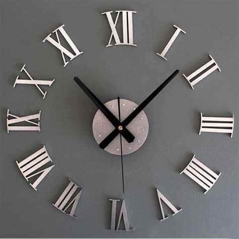 Jam Dinding Acrylic Mirror diy luxury 3d wall clock large size home decoration clock silver ebay