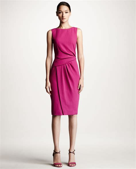 Lyst Carolina Herrera Draped Crepe Dress In Pink