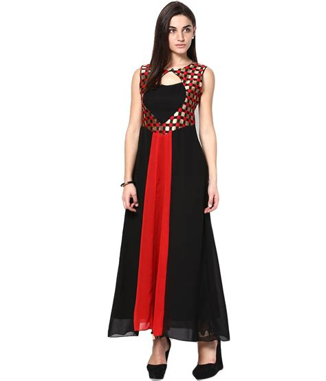 buy athena black poly georgette dresses at best