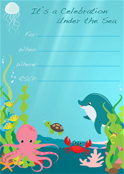 printable under the sea birthday invitations under the sea party invitation free printable aquarium