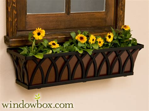 iron window boxes planters 60 quot arch tapered iron window box 60 quot window boxes