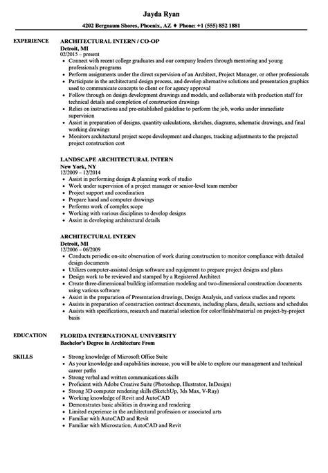 architectural intern resume sles velvet